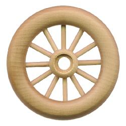 spoked wooden wheel with axle peg