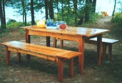 Outdoor Harvest Table and Benches Plan - Downloadable
