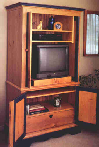 Pine Armoire Entertainment Center Plan Downloadable