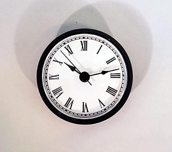 White Roman Quartz Clock Insert Black   Bear Woods Supply