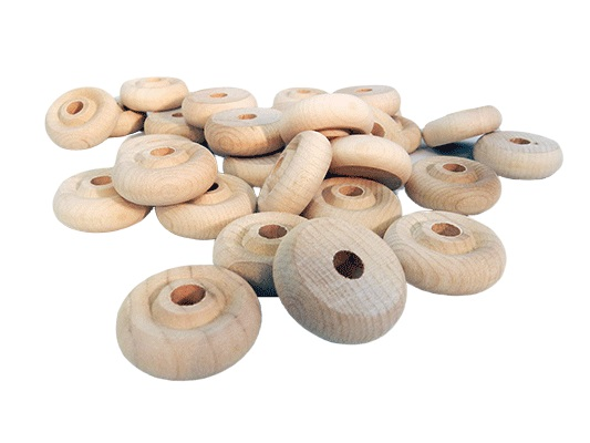 4//Pkg Wood Turning Shapes-Toy Wheel 1X3//8 1//4 Hole