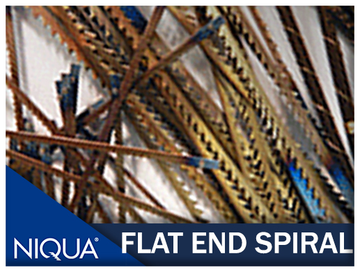 Flat end spiral blades for niqua scroll saw