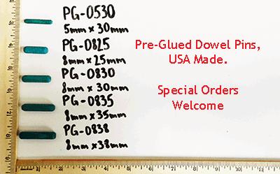 Selection of pre-glued dowel pins, metric | Bear Woods Supply