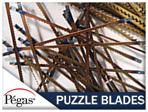 Puzzle blades for pegas scroll saw
