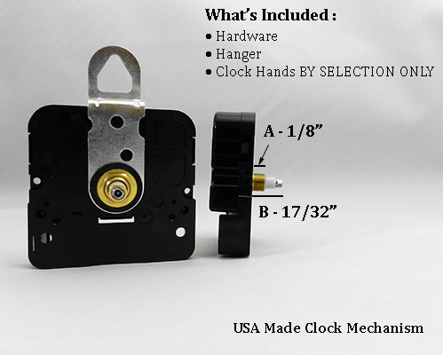 USA Made Clock Movement 1/8 inch | Bear Woods Supply