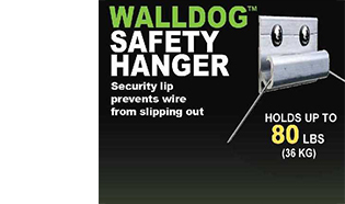 Wall Dog Safety Hanger for wired pictures. By Hangman. 3 with Friction Bumpers, 80 lbs