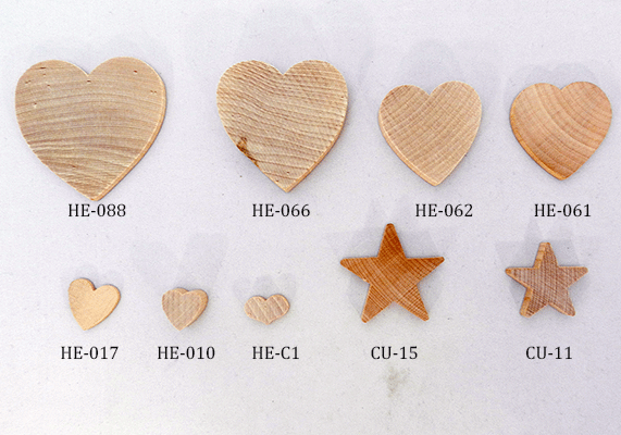 great selection of sizes thicknesses and styles of hardwood heart cut outs
