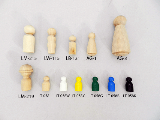 wooden game pawns, wood little people | Bear Woods Supply