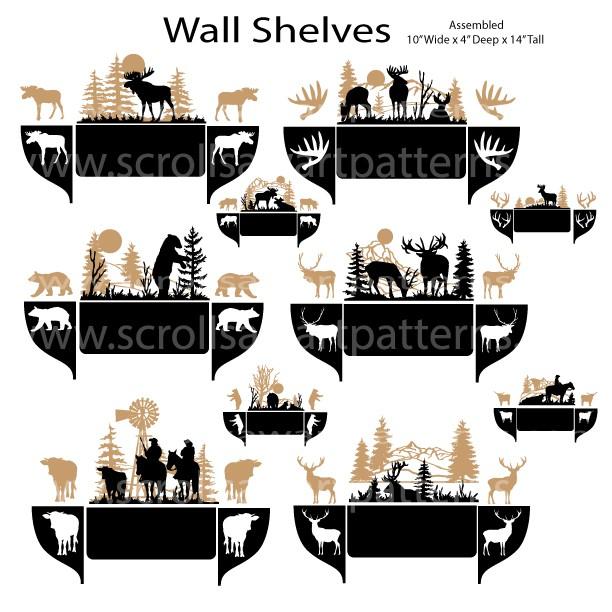 Deer, Elk, Moose, Bear and Cowboy Scroll Saw Pattern Wall Shelves By Jason Henry