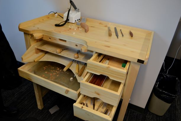 Wood carving bench and tools