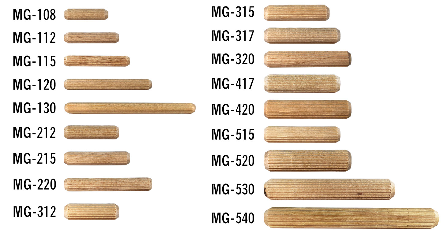 Buy wood dowel pins, multi-groove | Bear Woods Supply