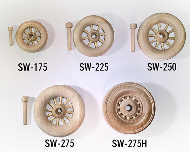 buy spoked wooden wagon wheels for wood models | Bear Woods Supply