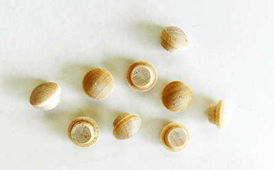 BIRCH - Screw Hole Button Wood Plugs with Tapered Sides (1/4 Diameter) - Per 100 Wood Plugs