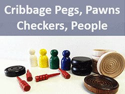 wooden cribbage pegs, checkers, game pawns