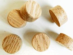 Oak side grain flat top wood plugs