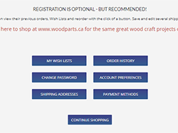 Register for woodworking supplies orders