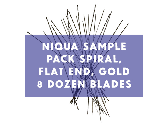 Niqua Scroll Sample Pack Spiral Gold, Flat End Spirals, and New Spiral Gold - 9 Dozen Blades