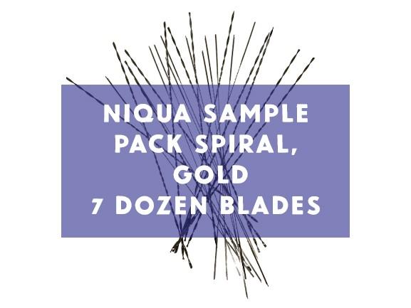 Niqua Scroll Sample Pack Spiral Gold Blades - 5 Dozen Blades