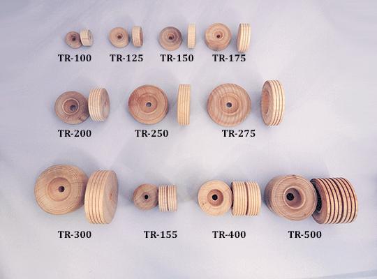 treaded wooden wheels