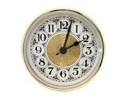 3-5/8 Fancy Ivory Arabic Clock Insert - Brass Color Bezel