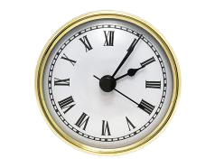 2-7/8 White Roman Quartz Clock Insert - Brass Color Bezel