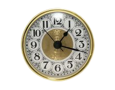 PREMIUM 2-3/4 Fancy White Arabic Clock Insert - Real Brass Bezel