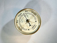 Gold bezel ivory barometer