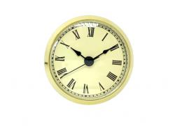 2-7/8 Ivory Roman Clock Insert - Brass Color Bezel