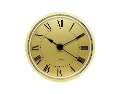3-1/2 Clock Fitups - Roman Numerals on Gold Dial with Brass Color Bezel