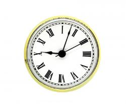 3-1/2 Clock Fitups -  Roman Numerals on White Dial with Brass Color Bezel