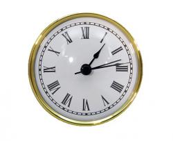 PREMIUM White Roman Numerals Clock Inserts 3-9/16, Real Brass Bezel