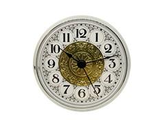 3-1/2 Fancy White Arabic Clock Insert - Silver Bezel