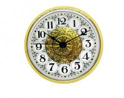 3-1/2 Fancy White Arabic Clock Inserts with Brass Color Bezel