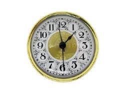 PREMIUM 3-9/16 Fancy White Arabic Clock Insert - Real Brass Bezel