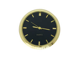 2 Premium Clock Insert With Black Dial - Brass Bezel
