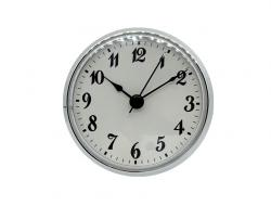 Clock Fitups (Inserts) 3-1/2 Arabic Numerals on White Dial (Silver Bezel)