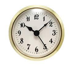2-5/16 White Arabic Clock Insert - Brass Color Bezel