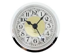 2-5/16 Fancy White Arabic Clock Insert - Silver Bezel