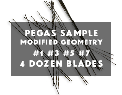 Pegas Scroll Saw Blades Sample - Modified Geometry #1, 3,5,7