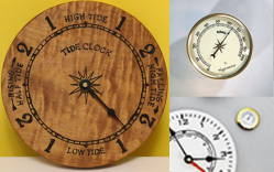 Tide clock movements, weather instrument inserts