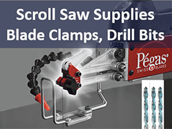 Scroll saw blade clamps, drill bits