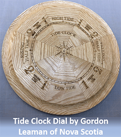 wooden tide clock face