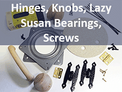 Woodworking craft hinges, knobs